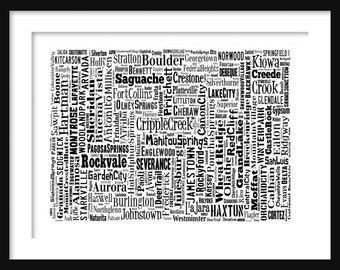 Colorado State Map Typography Map Poster Print