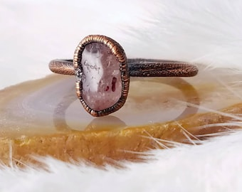 Size 10.5  strawberry quartz stacker ring electroformed copper crystal ring