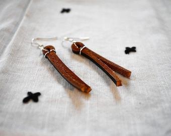 Dangle Leather Earrings, Vegan Leather, Sterling Silver