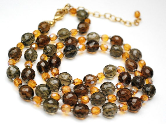 Joan Rivers Crystal Bead Necklace - Brown Grey Orange Glass -  Citrine glass smokey topaz colors - 35 inches long necklace