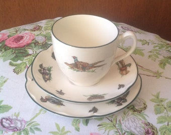 Vintage Teacup Set/Johnson Bros - Brookshire/Three Piece Set/Designed by Susan Kennedy/Ducks and Fowl Design/Made in England