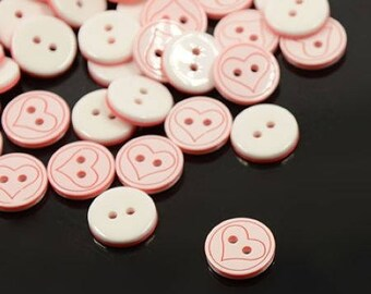 Set of 10 buttons acrylic white and pink - heart motif - 12 mm T27