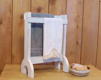 Primitive Towel or Dry Rack Farmhouse Kitchen or Bathroom Original Design Antique White / Color Choice