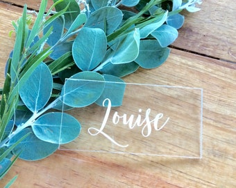 Place cards- Acrylic place cards. guest names - place settings
