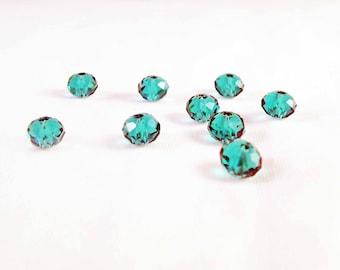 PSW23 - 20 beads gemstone 6X4mm emerald green glass emerald green Crystal