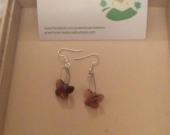 Purple Butterfly Wire Earrins