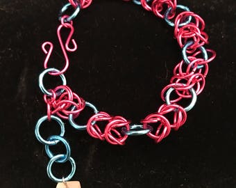 Bracelet , chain maille, pink and blue with white bead charm