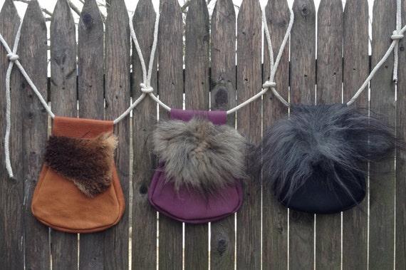 Renaissance / Viking / LARP Leather and Sheepskin Hip Bag