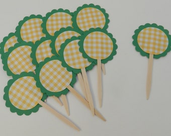 Cupcake Toppers Green and Yellow Gingham and Scalloped
