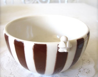 One of a kind 212-NYC-Brown and White Striped Angel Bowl
