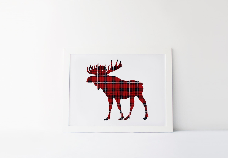 plaid moose print moose art plaid animal print plaid