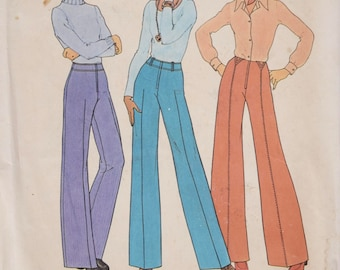 """1970's Vintage Sewing Pattern Simplicity 7056 Wide Leg and Straight Leg Pants Waistband Topstitching Braided Belt Loops UNCUT Waist 26.5"""""""