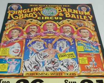 Ringling Brothers Barnum & Bailey Circus 1984 Centennial Poster TULLY BURCH Art White Tigers