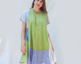 Cool Eco Cotton short mini Dress, Tunic, Funky Upcycled Men's Shirt creation, Patchwork Fashion, Resplendent Rags, Green Blue Cotton Dress