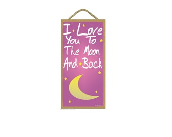 """Pink I Love You To The Moon And Back Kids Nursery Baby Room SIGN 10"""" X 5"""""""