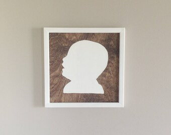 12x12 Custom Wooden Silhouettes - Stained with White