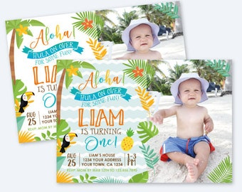 Luau First Birthday Boy Invitation with Photo, Hawaiian Birthday Party, Summer Birthday Party, Personalized Digital Invitation, 2 options