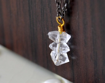 Herkimer Diamond Necklace, Mixed Metals, Black Gunmetal and Gold, Wire Wrapped, Quartz Gemstone Jewelry