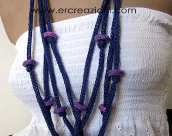 Collana viola in cotone, fatta a mano ad uncinetto