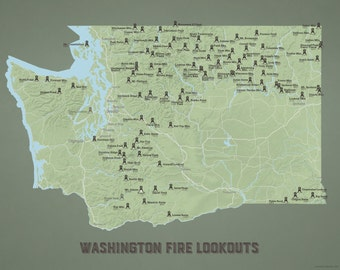 Washington Fire Lookouts Map 11x14 Print