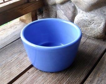 Hall Pottery Bowl, Crock, Dog Dish, Cottage Chic, Periwinkle Blue, Art Deco, Vintage Kitchen