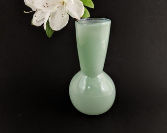 Small Bud Vase Blown Glass Light Blue Green Turquoise Handmade Hand Blown Simple Solid