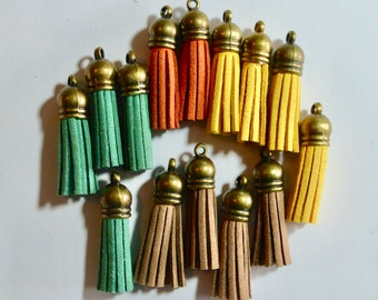 Mixed Color Batch of Small Suede Leather Tassels with Brass Caps - 38mm