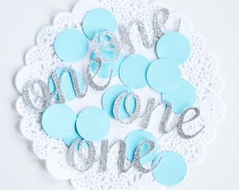 Glitter 1st Birthday Party Confetti, Baby Blue and Silver Confetti, Glitter Confetti, Silver Baby Shower, Baby Boy Gift