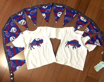 Buffalo football Themed for twins or just one lucky child / 2 shirts ans 1 banner