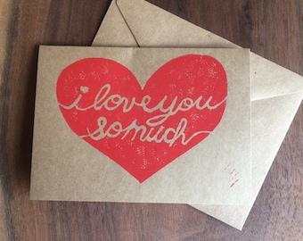 Love You So Much heart, love / anniversary / Valentine card, hand printed linocut block print, 4 x 5.5