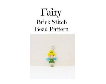 Fairy Beading Pattern, Brick Stitch Charm / Pendant Craft, Seed Bead Design, Digital File