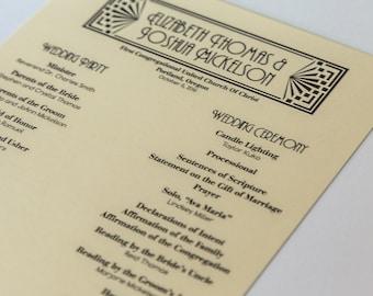Art Deco Program Wedding Deco Flat Ceremony Itinerary Great Gatsby Custom Half Sheet