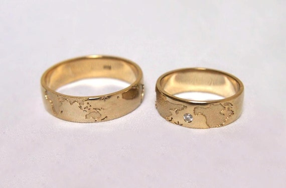 14k Gold Travelers Wedding Bands Unique Matching White Band
