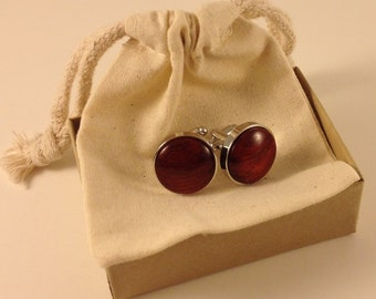 Handcrafted Bloodwood Cuff links in Chromed Fittings