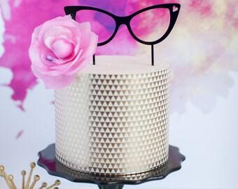 Retro Fashion Glasses Cake Topper, Laser Cut, Acrylic