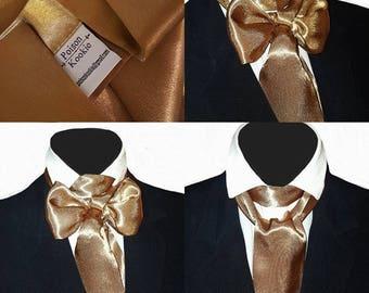 Antique Gold Satin Self Tie Cravat Neck Jabot Victorian Steampunk Cosplay Theatre Wedding Races Ascot Multi Way Z10