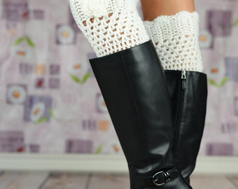 White Crochet Boot Cuffs With Rose Flower