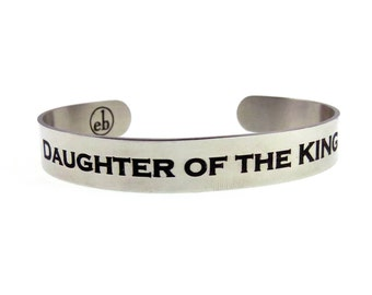 Daughter of the King | Not Today Satan Stainless Steel Cuff | Spiritual Hand Stamped Religious Cuff | Engraved Cuffs