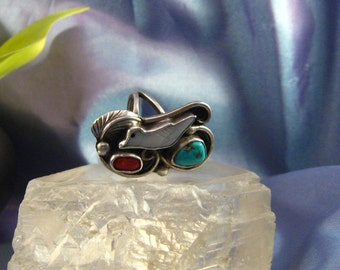 Ring Vtg 925 Sterl Silver Native Turquoise Coral MOP Bird Ring Hefty Unusual Sz. 9.25