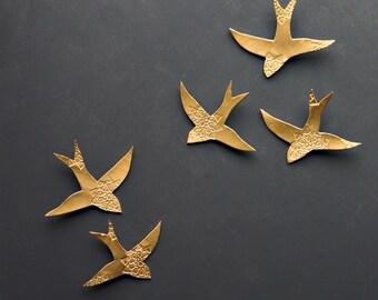 Original Artwork Gold Porcelain Wall Art Swallows Bright Gold Birds Wall Sculpture Ceramic Modern Art with Moroccan Inspired Design Set of 5