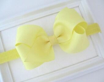Yellow Bow Headband, Baby Headband, Newborns, Infants, Baby Girls, Easter Baby Headband