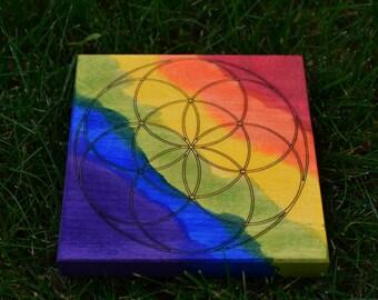 Tie Dye Rainbow Maple Seed of Life Crystal Grid