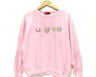 Vintage UNGARO PARIS Knit Logo Made In ITALY Pink Sweatshirt Crew Jumper Small