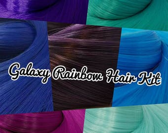 Galaxy Rainbow Nylon Doll Hair Kit 7 Hanks Dark Purple Blue Violet Teal Colours Doll or Pony Reroot Kit DIY Custom OOAK Fashion Doll