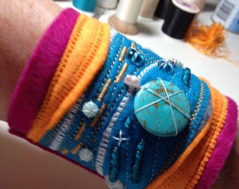 Beaded embroidered bracelet, one of a kind, see image for size, Wallet inside, snap closure, turquoise and glass beads