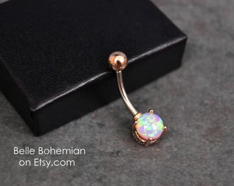 Belly Button Ring Peach Fire Opal Rose Gold Opal Belly Ring Opal Belly Jewelry 14G Opal Navel Ring