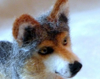 Felt Miniature Wolf Sculpture  / Needle Felted  Animal / Great for Red Riding Hood Art Doll