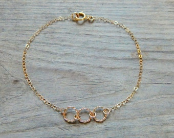 Three circles bracelet, Delicate, Simple gold bracelet, Everyday jewelry