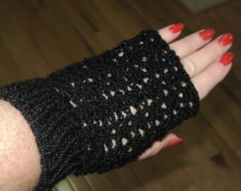 Handmade Crochet Fingerless Gloves -Black