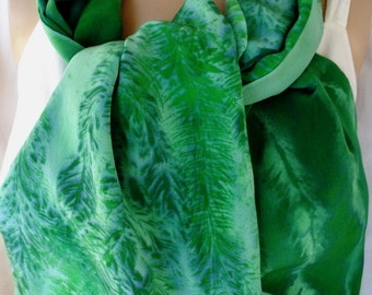 silk scarf large long luxury crepe Evergreen Pine hand painted unique emerald green forest wearable art morgansilk scarves winter